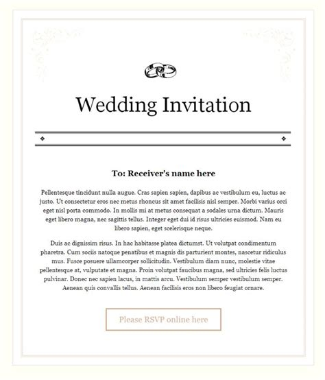 Invitation Letter Sle Email Marriage Invitation Letter To 100 Images Wedding Invitation Cover Letter