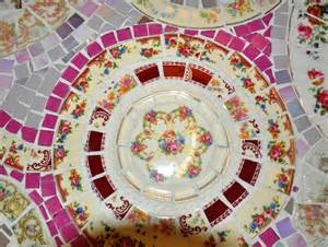 Handmade Artists Shop - handmade mosaic end table made from broken china plate