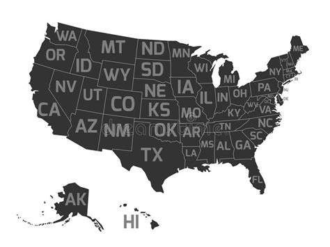america map gray map of usa with state abbreviations stock vector