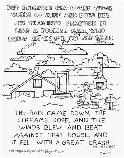 coloring pages house on the rock wise man built his house upon the rock coloring sheet