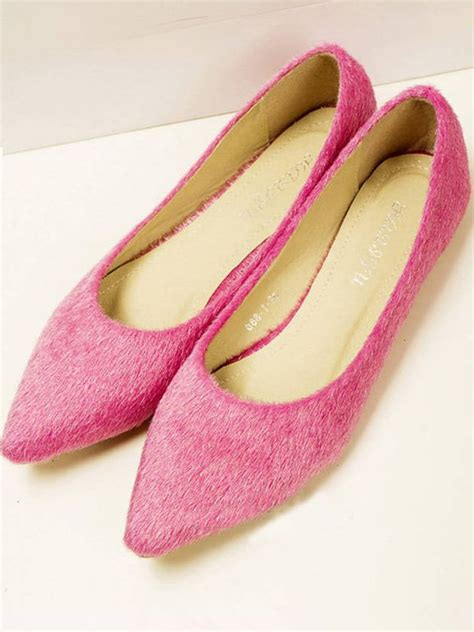 Flatshoes Pink brand new pointed toe fur pink flat shoes