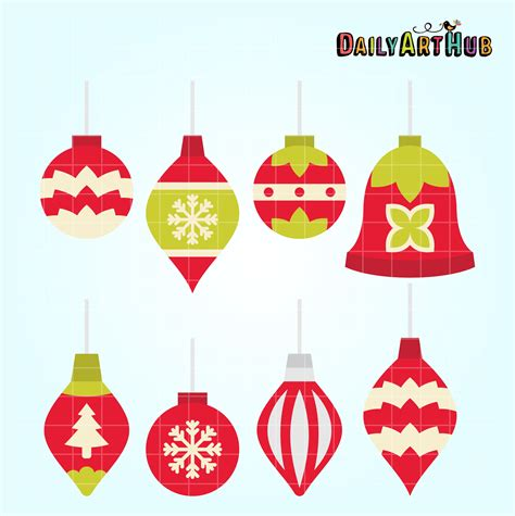 simple christmas ornaments clip art set daily art hub