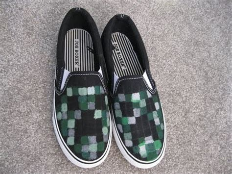 diy minecraft shoes diy project minecraft creeper painted shoes how to