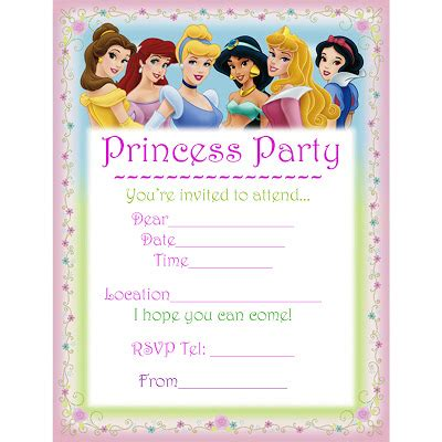 princess birthday card template disney princess for birthday invitations ideas