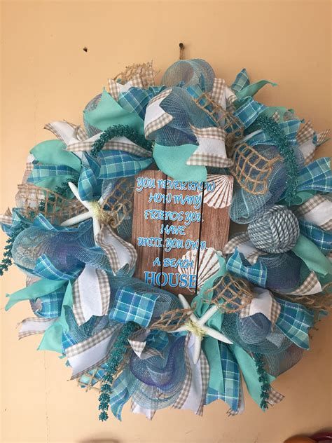 beach house deco mesh ribbon door wreath
