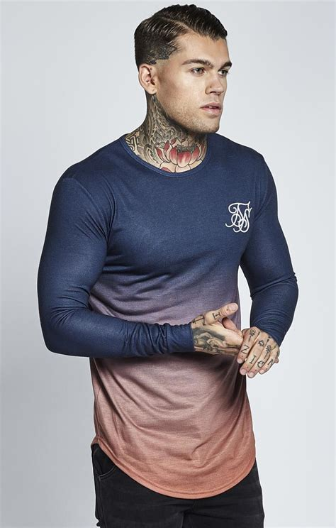 Sleeve Gradient Shirt sik silk longsleeve t shirt gradient blue sik silk woodmint
