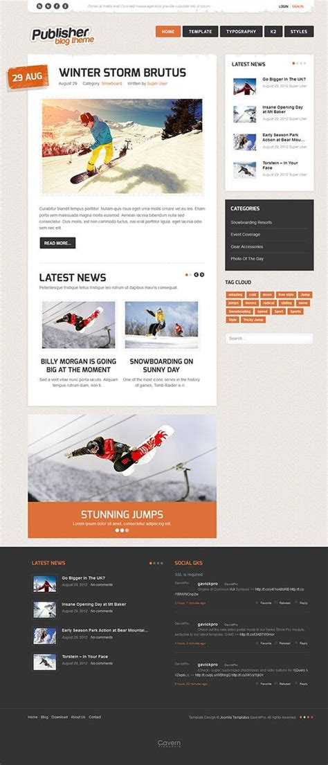 joomla category blog layout template publisher joomla bloggers writers theme