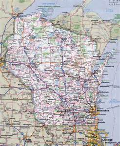 large detailed roads and highways map of wisconsin state