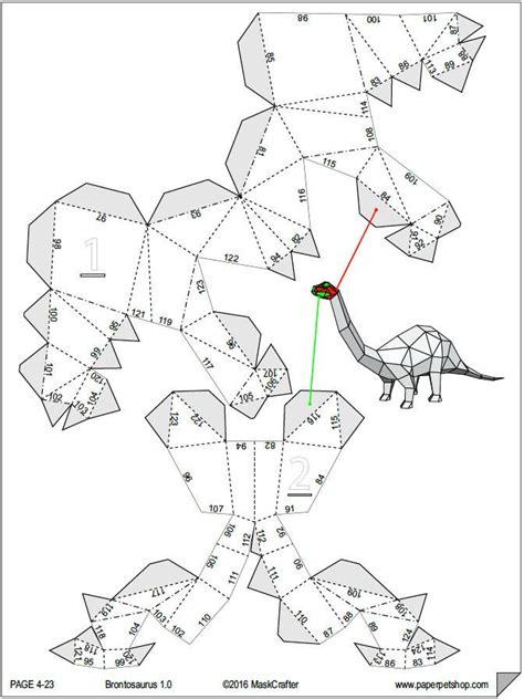Dinosaur Papercraft Templates - brontosaurus dino papercraft template diy paper pet