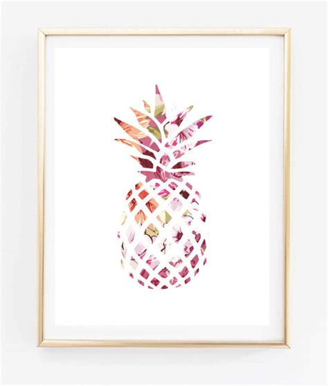 cute printable wall art floral pineapple painting art print room decor typographic