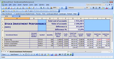 performance tracking excel template calculate your stock portfolio performance in excel