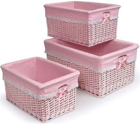 Complete Nursery Furniture Sets Baby Nursery Decor Simple Baskets For Baby Nursery Pink Color Square Shape Small To Big