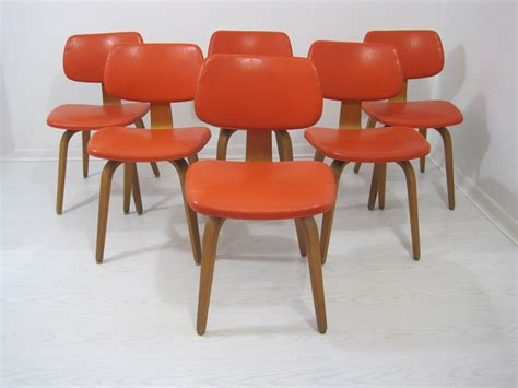 Bright Dining Chairs Mid Century Set Of 6 Bright Orange Thonet Side Dining Chairs Mix Vintage
