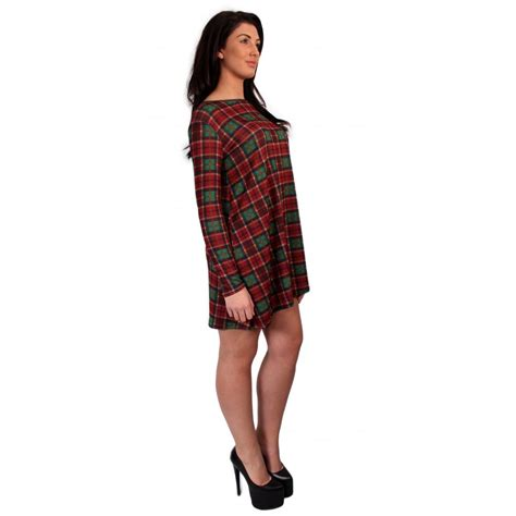 tartan swing dress uk tartan checked long sleeve swing dress from parisia