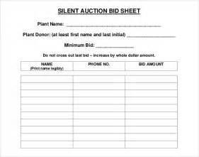 Silent Auction Template Free sle bid sheet template silent auction bid sheet 05 40