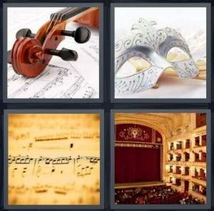 pics  word answer  violin mask  theater