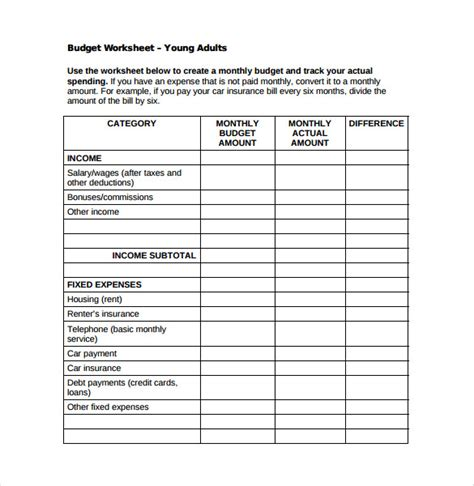 8 Monthly Budget Spreadsheet Templates Free Word Excel Pdf Documents Download Free Budget Template For Adults