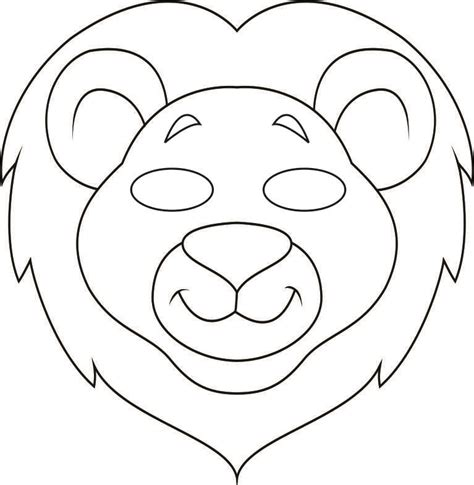 Lion mask colouring pages page 2