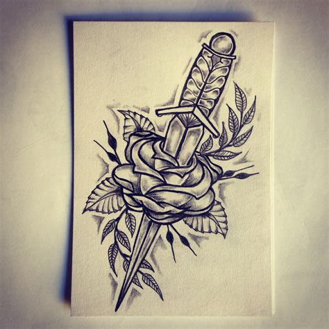 draw a tattoo rose dagger sketch drawing ideas by