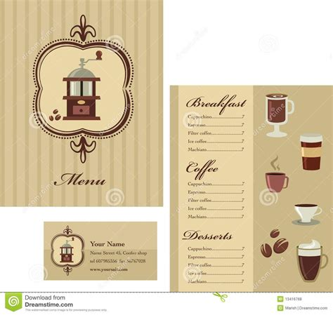 business menu template menu and business card template design coffee stock