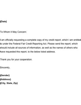Use this letter to request a copy of your annual credit