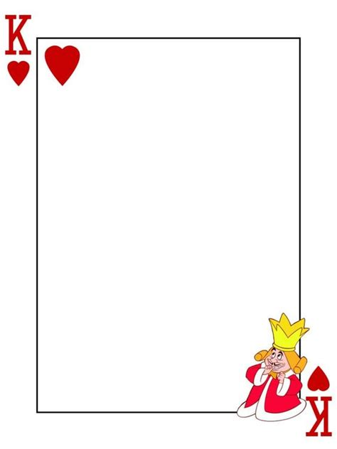 blank circle deck of cards template king of hearts in card