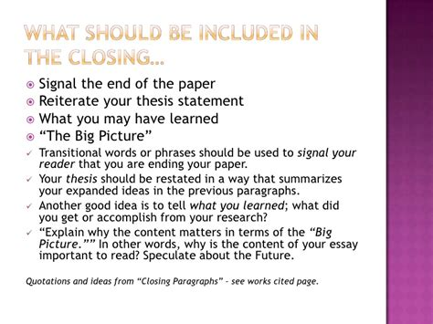 Closing Essay by Writing Effective Opening And Closing Paragraphs