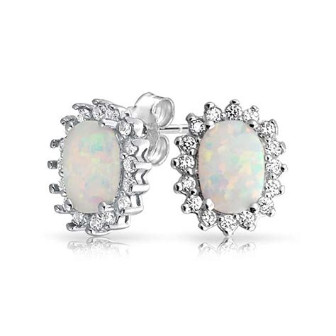 opal october birthstone 925 silver stud earrings 8mm bling jewelry synthetic white opal october birthstone oval