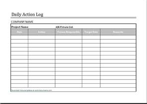 Daily Work Tracker Template by Daily Log Template For Ms Excel Document Templates