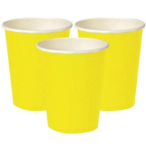 piatti e bicchieri di carta bicchieri di carta color giallo 8 pz
