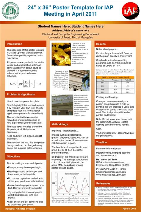 poster presentation powerpoint template ppt 24 x 36 poster template for iap meeting in april