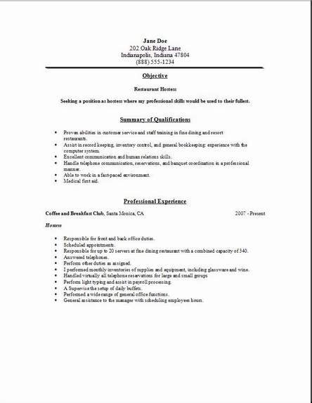 Restaurant Resumes by Restaurant Resume Sle