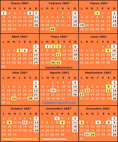 Calendario Laboral 2006 Trackrecord Calendario Laboral De Espa 241 A Para 2007