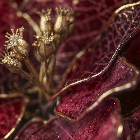 burgundy velvet artificial poinsettia stem holiday