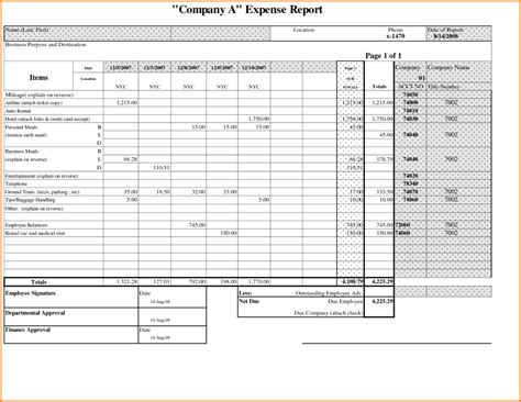 credit card expense template excel credit card expense report template expense spreadsheet