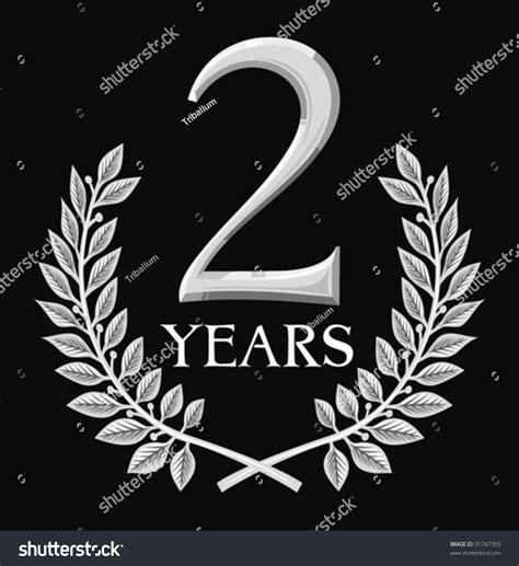 golden laurel wreath 2 years anniversary stock vector