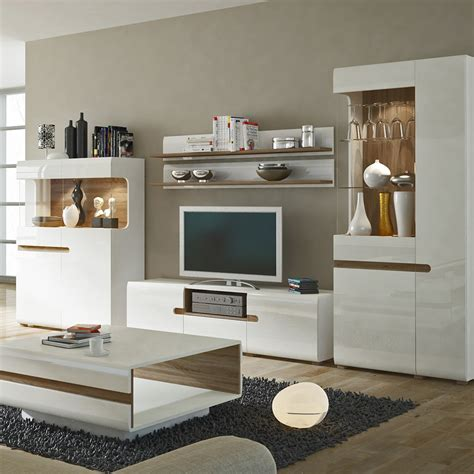 Chelsea Living Wide Tv Unit In White With An Truffle Oak Trim White Gloss Living Room Furniture Uk