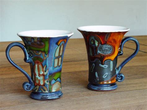 unique mugs set of two coffee mugs colorful pottery mugs with unique