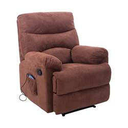 Heated Recliners by Homcom Heated Vibrating Suede Recliner Brown