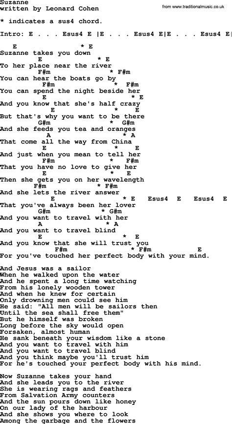 printable lyrics to hallelujah leonard cohen song suzanne lyrics and chords guitar