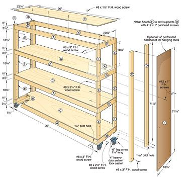 pdf diy woodworking plans garage shelves