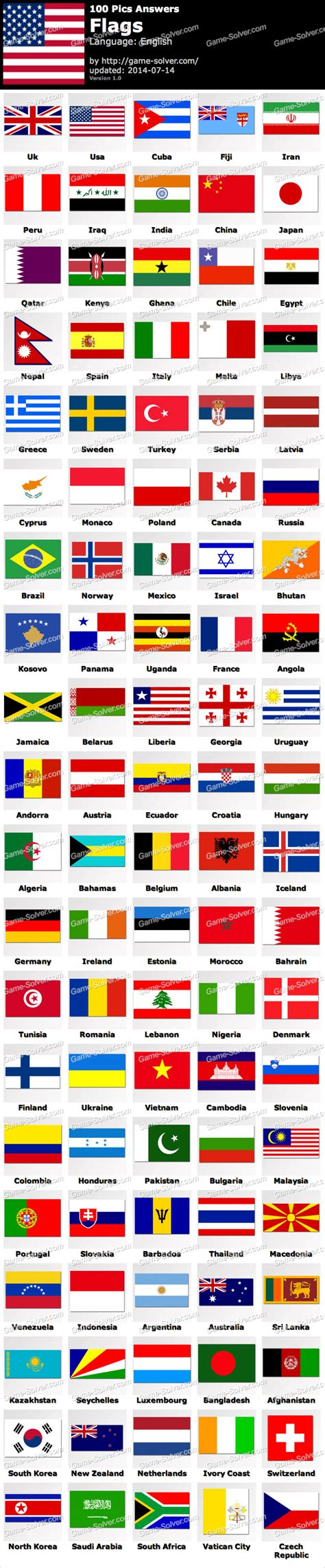flags of the world game answers 100 pics flags game solver