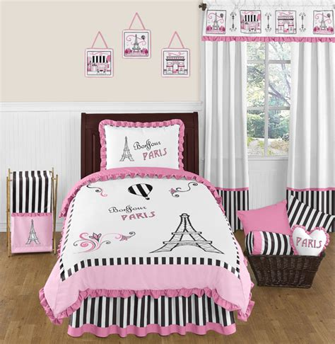 twin paris bedding sweet jojo designs pink black paris france twin girls