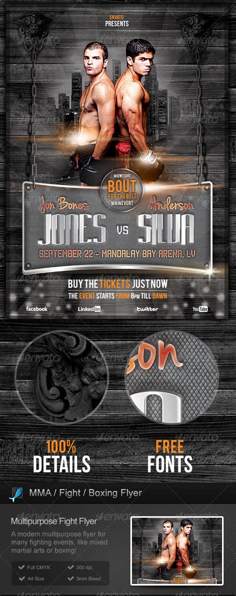 Mixed Martial Arts Mma Boxe Boxing Fight Flyer On Behance Mma Flyer Template