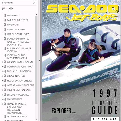 seadoo boat manuals sea doo boat challenger 1800 repair manual 1997