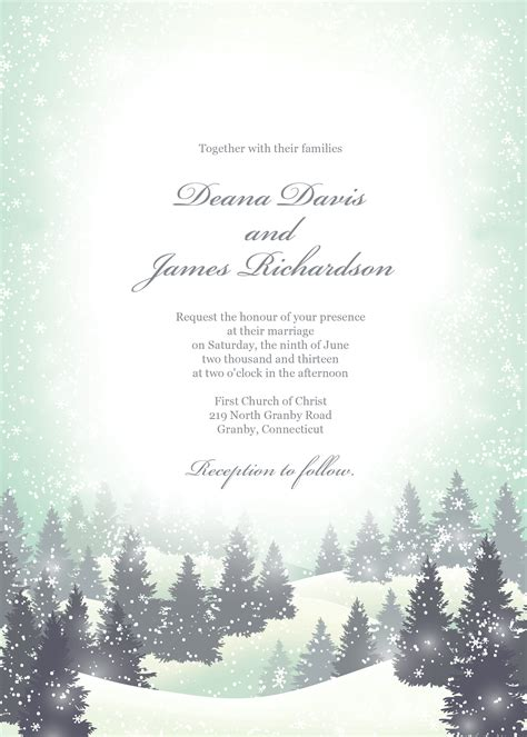 free winter wedding invitation template only by invite