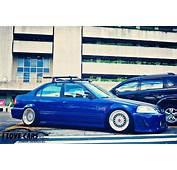 Blue EK Honda Civic Sedan On Silver BBS RS  Zone