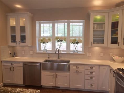 Kitchen Cabinet Hardware Shaker Style White Shaker Style Kitchen Cabinets With Hickory Hardware Studio Pulls P3010 Sn And