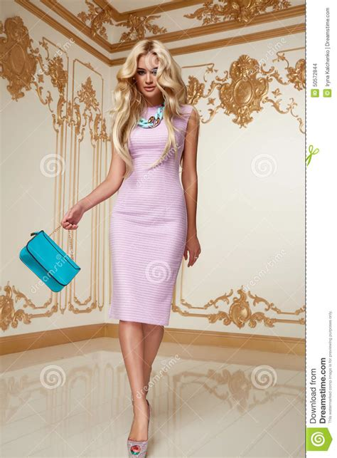 Dress Pink Curly beautiful blond hair pink evening dress acsessory
