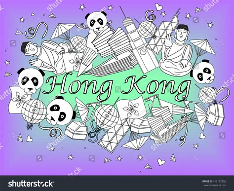 doodle 4 hong kong vector illustration of hong kong line style coloring